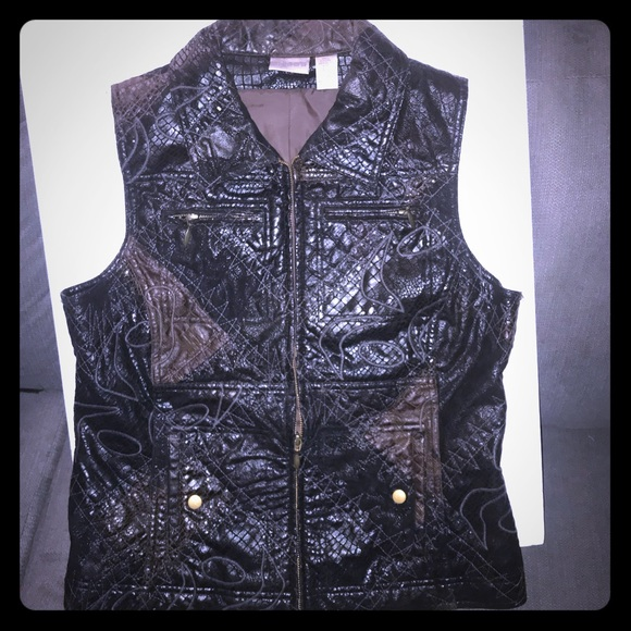 Chico's Jackets & Blazers - Chico's small black brown embroidered zip vest 1